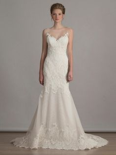 Liancarlo French alencon lace on Italian tulle mermaid wedding dress with illusion neckline from Spring 2016
