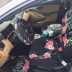 """""""I ordered front/back mats, a steering wheel cover, front seat covers, and seat belt covers. I received proofs within 1 hour of ordering, production was fast, I received my items within a week and a half of ordering. All of the items I received are QUALITY. I have a 2012 hyuandi Elantra and the seat covers fit perfectly! Thanks for making my new car look beautiful!!"""" -Brittney Johnson. Get your custom car accessories here…"""