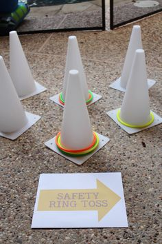 Safety cone toss, construction party activities; construction party
