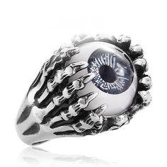 Men's Titanium Skull Hand Clawing Eye Ring