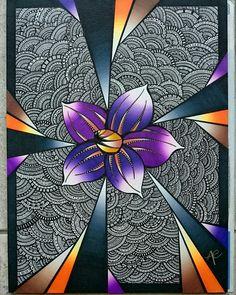 Zentangle  Artistique  Fleur Chameleon Mandala