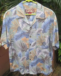 HAWAIIAN Aloha SHIRT Medium pit to pit 22.5 CARIBBEAN JOE Rayon Tropical foliage #SeeDescription #Hawaiian