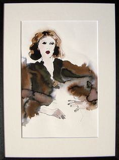 fur stole framed