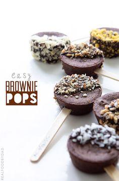 Easy Brownie Pops DIY via Real Food by Dad #appetizer #dessert #funfood