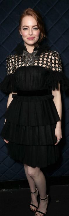 Emma Stone in Dress – Gucci Shoes – Stuart Weitzman Pinterest: KarinaCamerino
