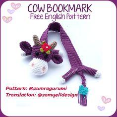 Cow Bookmark Free Pattern – Amigurumi Free Patterns And Tutorials : Cow Bookmark Free Pattern – Amigurumi Free Patterns And Tutorials Crochet Cow, Crochet Patron, Crochet Books, Crochet Gifts, Free Crochet, Crochet Animal Patterns, Crochet Patterns Amigurumi, Crochet Stitches, Crochet Bookmarks