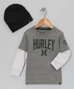 afab2d68720 Heather Gray Layered  Hurley  Tee   Beanie - Boys