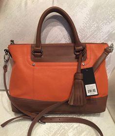 TIGNANELLO Purse Convertible Satchel Leather Corssbody Bag  Orange NWT $165.00 #Tignanello #Satchel