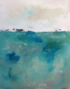 Blue Green Abstract Seascape Painting Original por lindadonohue
