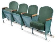 Vintage Velvet Theater Seats in Forest Green on Chairish.com