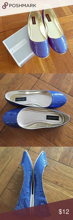 NIB Adorable Blue Sequin Flats Cute and comfy blue sequin flats - new in the box - the color is a purplish/blue (pretty accurate in the photos) - true size 10 - never worn Fahrenheit Shoes Flats & Loafers