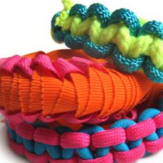 Ribbon and Rope Macrame | AllFreeJewelryMaking.com....A new take on friendship bracelets.These bracelets are rated easy to make.