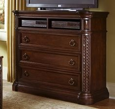 Progressive Furniture P169-46 Marlestone MEDIA CHEST in Tobacco Finish
