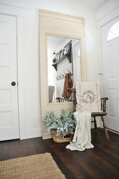 DIY large antiqued floor mirror - SO SIMPLE TO MAKE! Can be made in any size for a custom look for your home. Change out the color & the trim for a whole new look.