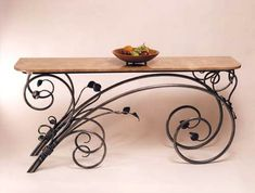 Vict Iron work scroll table – metal of life Iron Furniture, Industrial Furniture, Home Furniture, Wrought Iron Decor, Metal Tree Wall Art, Iron Table, Iron Art, Wood And Metal, Pot Racks