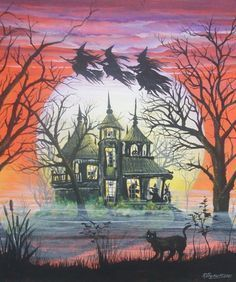 Nice addition to your Halloween collection! All of our designs, artistry, photos and text are. Sure to be a favorite in your Halloween Collection of art! Photo Halloween, Halloween Vintage, Halloween Scene, Halloween Painting, Halloween Prints, Halloween Haunted Houses, Halloween Images, Halloween Night, Halloween Art