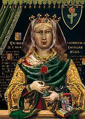 Catherine of Lancaster (31 March 1373 – 1418) was Queen of Castile as the wife of King Henry III of Castile.    Queen Catherine was the daughter of John of Gaunt, 1st Duke of Lancaster, and his second wife, Constance of Castile (the daughter and heir of King Peter of Castile, who died at the hands of his half brother Henry II). She was born in Hertford Castle, her father's chief country home, on 31 March 1373.[1] Catherine became Queen of Castile through her marriage to Henry III.