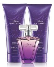 #New Rare Amethyst Reveal the gem inside.  -Eau de Parfum Spray Glamorous and captivating, this sensual jewel of passionate plum shimmers with mysterious violet and rich sandalwood. 1.7 fl. oz.    - Body Lotion Experience the sophistication of Rare Amethyst with a silky all-over body lotion. 6.7 fl. oz.    -Shower Gel Lather up with the sophisticated scent of Rare Amethyst. 6.7 fl. oz.  #Avon #love4beauty
