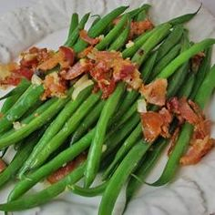 Country Green Beans - bacon - chicken broth - 1 lb. fresh green beans - garlic cloves - onion - butter