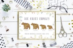 personalised family of bears printable poster print