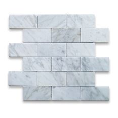 "Stone Center Corp - Carrara Marble Subway Brick Mosaic Tile 2""x4"" Polished - Carrara white marble 2"" x 4"" brick pieces mounted on 12"" x 12"" sturdy mesh tile sheet"