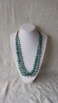 Vintage Old Pawn Navajo Turquoise & Heishi 3 Strand Necklace Aztec New Mexico