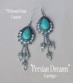 Turquoise Chandelier Earrings, in the Art Deco style with large turquoise cabochon, Rhinestone fringe and Vintage filigree. By #AlchemyDivineCouture #TurquoiseChandelierEarrings  https://www.etsy.com/listing/220985964/turquoise-earrings-tribal-vintage