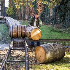 The Woodford Reserve Distillery still uses a track system from the 1800s to roll barrels into the warehouses. Woodford Reserve also produces the official bourbon of the Kentucky Derby.