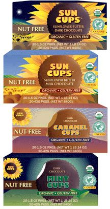 Peanut, tree nut and gluten free version of Reese's, available at www.suncups.com