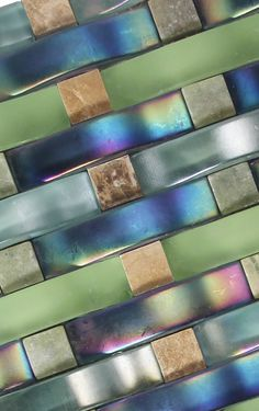 We love this Iridescent curved mosaic glass tile Glass Tile Backsplash, Glass Mosaic Tiles, Fish Scale Tile, 3d Wall Tiles, Blue Mosaic, Curved Glass, Color Boards, Shower Remodel, Green Marble