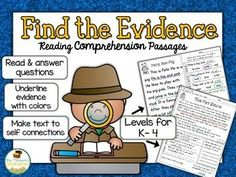 Classroom Freebies Too: Find the Evidence Reading Comprehension Passages