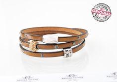 Armband gewickelt dezent & filigran beige / taupe Leder mit Strass-Effekten, Strass-Perle und Andrea Traub-FASHION Modulperle & Magnetverschluss Wickelarmband für Frauen