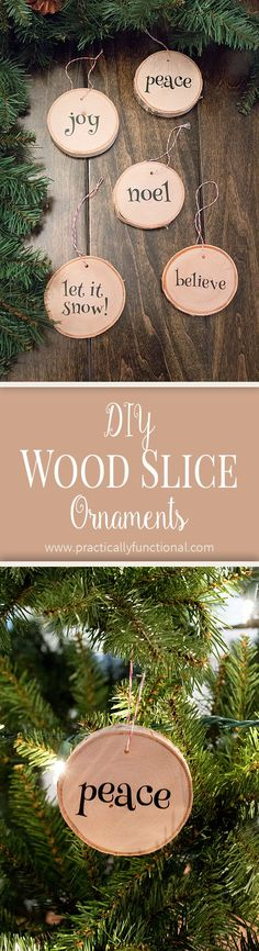 DIY wood slice Christmas ornaments! So quick and easy to make! Sponsored by Dunkin' Donuts. #DunkinAtHome #BakerySeries #ad