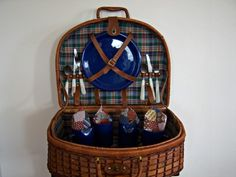 Vintage Wicker Picnic Basket Home by RockySpringsVintage on Etsy, $79.95