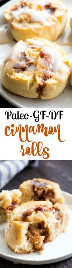 These classic paleo cinnamon rolls begin with a one-bowl dough, have a maple cinnamon filling and dairy-free, sweet and gooey white glaze drizzled on top!  They're soft and chewy on the inside with a chewy crust on the outside, making the texture just as irresistible as the flavor!  Family approved, perfect as a special breakfast treat or snack anytime!