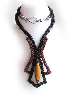 architectural dimensional right angle weave Bead Jewellery, Seed Bead Jewelry, Seed Bead Necklace, Beaded Necklace, Necklaces, Maxi Collar, Ideas Joyería, Handmade Beaded Jewelry, Beads And Wire