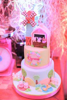 Barnyard Cake from a Pink Barnyard Birthday Party on Kara's Party Ideas | KarasPartyIdeas.com (7)