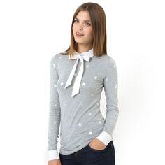T-shirt estampada às bolas com gola fantasia Mademoiselle R   La Redoute