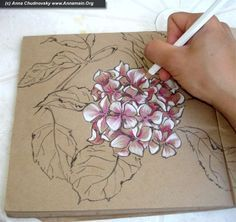 Everyone is unique, and it's worth to show it - How to draw hydrangea flowers, part I .....Drawing with colored pencils on cardboard colored paper! Makes it pop!
