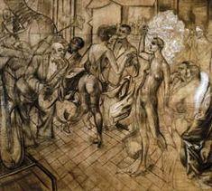 """Otto Dix- Metrópoli (1928). Cuando el tríptico Metropolis se presenta por primera vez en el verano de 1928 bajo el lema programático """"Arte sajón de nuestro tiempo"""", Dix se ve confirmado, en la tradición de Lucas Cranach, como moderno """"pintor de corte"""" de Sajonia."""