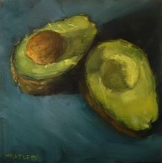 """MICHAEL NAPLES. """"Split Avocado"""" Oil on 1/4"""" Board. Approx 6""""x6"""" SOLD. """"I really like how the background plays into the colors of the avocado. I tried to push to ultramarine blue in the background."""""""