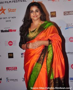 Another avid fan of #KanchiSilks other than veteran #Rekha is #VidyaBalan. Shouldering a voluptuous  Indian figure, she has finally got it right that rather than trying to fit in western outfits, flaunt the graceful Indian curves in #elegantsarees! Check her out in a gorgeous orange and green #kanjeevaramsaree that she had draped for the 17th #MumbaiFilmFestival.
