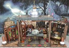 Halloween Village Mad Scientist Laboratory – Video Tutorial, New Collage Sheets… Halloween Village, Halloween Crafts, Halloween Decorations, Halloween Party, Halloween Miniatures, Dollhouse Miniatures, Haunted Dollhouse, Dollhouse Ideas, Haunted Houses