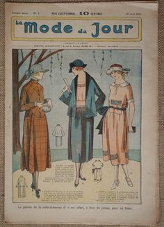 The 1st issue published on 28 April 1921 of La Mode du Jour. This magazine has survived for 95 years and is in good condition with it just being a little bit worn around the edges.  It features beautiful 1920s fashion, simple and elegant outfits for spring. As well as the color front and back covers, this issue has a color centrefold which is particularly suited to framing as the magazine has been folded and not stapled. Articles on the tranquility of the parents, recipes, beauty tips,a…