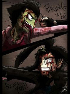 Yay my two favorite characters trying to kill eachother                                         Invader Zim, Zim, Dib, Rivals, Frenemies, ZaDr