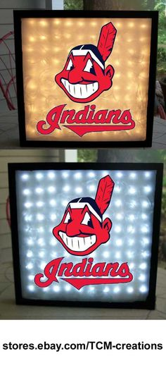 MLB Major League Baseball Cleveland Indians shadow boxes with LED lighting