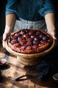 Spiced wine and plum tarte tatin