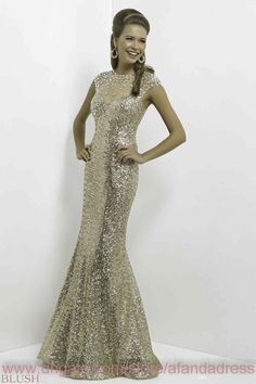 2015 Gold Sequins Evening Dresses Illusion Crew Neck Shiny Crystals Rhinestones Keyhole Back Backless Mermaid Long Prom Gowns BL9768