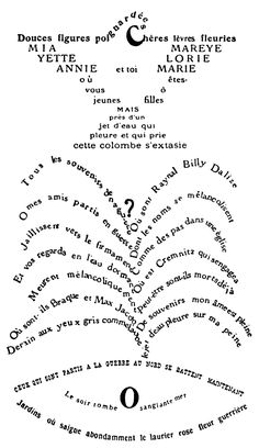 """Guillaume Apollinaire Calligrammes. Using typography to illustrate a story. These pieces challenge the viewer to """"see"""" text as images as well as something to be read."""
