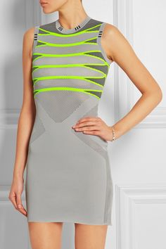 Alexander Wang|Mesh-paneled knitted mini dress|NET-A-PORTER.COM